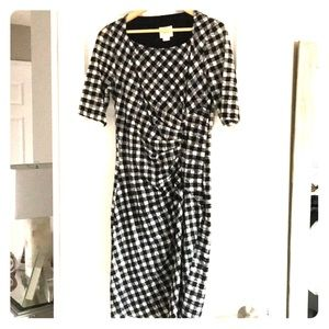 Maeve black and white checked dress